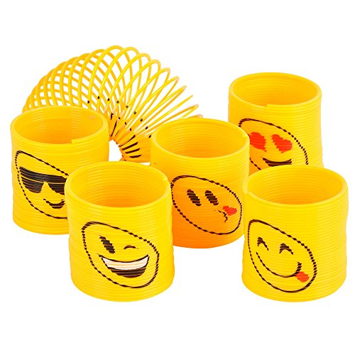 Emoji Coil Springs Toy For Birthday Party Favors 12 Count