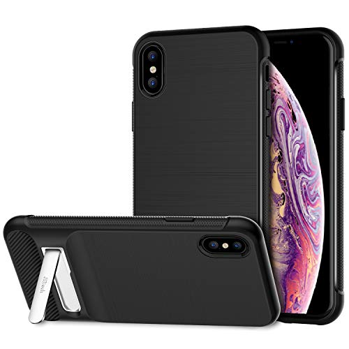JETech Case for Apple iPhone Xs and iPhone X, Protective Cover with Metal Kickstand, Shock-Absorption and Carbon Fiber Design