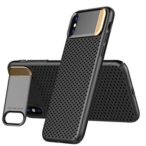 iPhone X Heat Dissipation Case, AICase Breathing Ultra Slim iPhone X Hard PC Metal Kickstand and Honeycomb Heat Dissipation Shockproof Hard PC Cover for ...