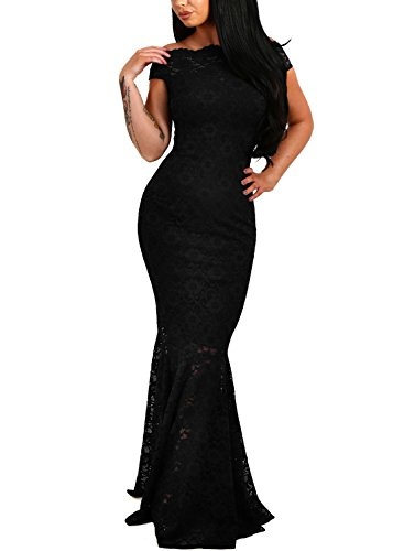 0f8abbd8225 Elapsy Womens Sexy Elegant Off Shoulder Bardot Lace Evening Gown Fishtail  Maxi Party Formal Dress Black Large